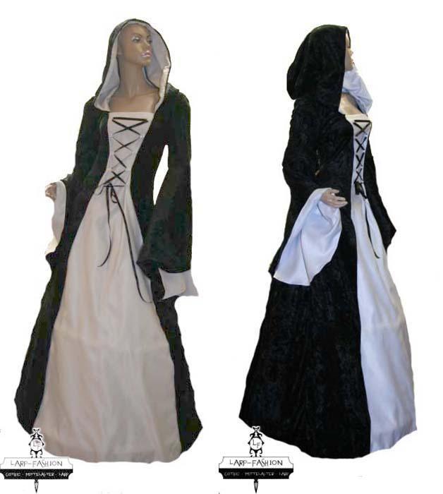 Mittelalterkleid Elben schwarzweiß